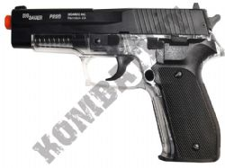 Sig Sauer P226 Metal Slide Airsoft BB Gun 2 Tone Black Clear Official Replica